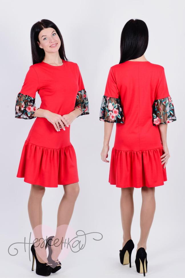 ec2f7f61bb79 Платье П 644 (красный+маки на ч. сетке) - купить оптом за 820 руб. от  производителя в ...